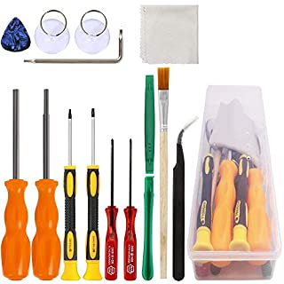 Triwing Screwdriver for Nintendo, YuCool Professional Security Game Bit Set of 11 Repair Tools for New 3DS/Wii/NES/SNES/DS Lite/GBA + 2 Suckers + 1 Tweezers + 1 Clean Cloth + 1 Storage Box- Pack of 16