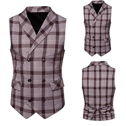 CICIYONER Männer Plaid Taste Beiläufig Drucken Ärmellos Jacke Mantel britisch Passen Weste Bluse