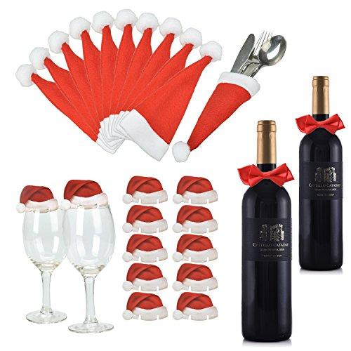 Weihnachtsmannmützen und Schleifen, 10 mal Bestecktasche, 10 mal Deko für Weingläser und 2 mal Deko für Weinflaschen ()