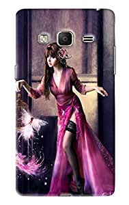 Blue Throat Girl Doing Magic Printed Designer Back Cover For Samsung Z3