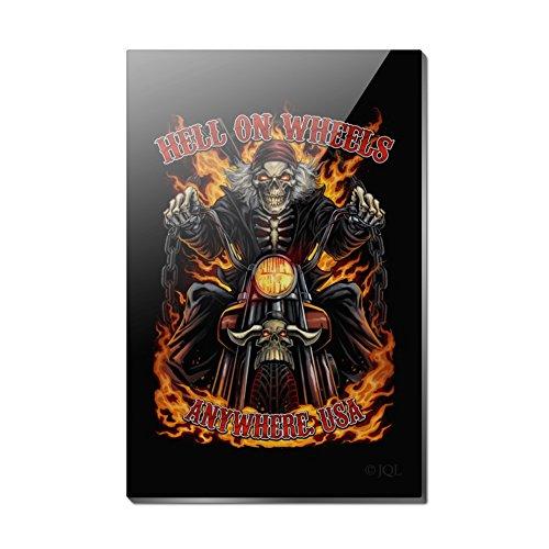 Hell on Wheels Motorrad Skelett Rechteck Acryl Kühlschrank Kühlschrank Magnet