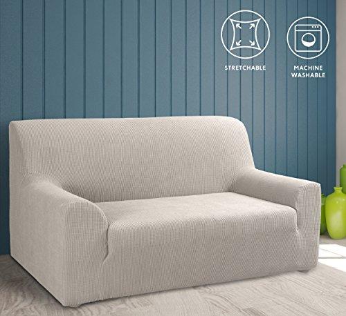 Tural – Beige Elastischer Sofabezug 3 Sitzer (195-260cm). Sofa-Überwürfe Sesselbezug Sesselhusse Sofaüberwurf. Erhältlich in verschiedenen Farben und Größen.