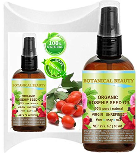 Organic Rosehip Oil 100% Pure. For Face, Hair And Body. 2 Fl.oz.- 60 ml. by Botanical Beauty
