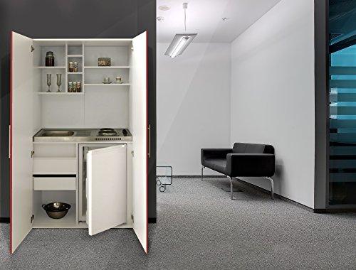 respekta Single Büro Pantry Küche Miniküche Schrankküche rot Ceran