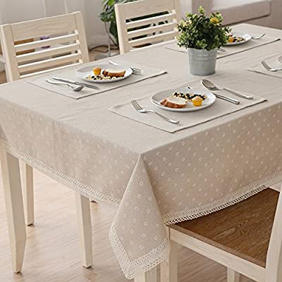 AIHOMETM Linen Tablecloth Dining Table Cloth Covers with Leno White Daisies Lace