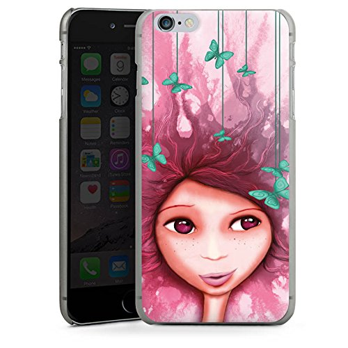 Apple iPhone 5s Housse Étui Protection Coque Fille Papillon Rose Violet CasDur anthracite clair