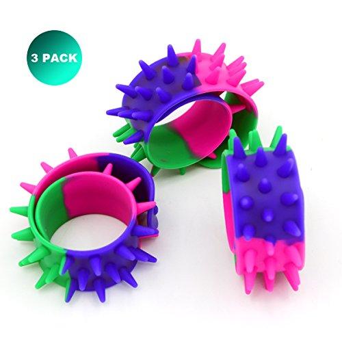 Geekbuzz Slap Armbänder Spiky Personalisierte Gummi Silikon Spike Armbänder zappeln Spielzeug für Kinder Erwachsene (3 Pack)