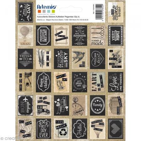 Artemio Pegatinas Estampa décoratif-vintage-64pcs, Papel, Negro, Beige, Gris, 15,5x 0,2x 20cm