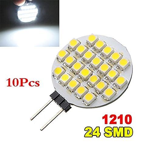 SODIAL(R) 10x G4 1210 SMD 24 LED Light Pure White Car Marine Bulb