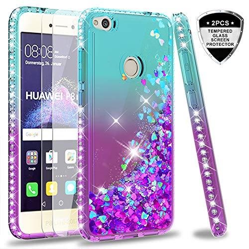 LeYi Hülle Huawei P8 Lite 2017/P9 Lite 2017 Glitzer Handyhülle mit Panzerglas Schutzfolie(2 Stück),Cover Diamond Schutzhülle für Case Huawei P8 Lite 2017 Handy Hüllen ZX Gradient Turquoise Purple