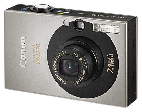Canon IXUS 70 Digitalkamera (7 MP, 3-fach opt. Zoom, 6,4cm (2,5 Zoll) Display) silber/schwarz -