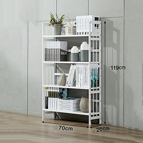 Bücherregal CHUANLAN Wooden White Bookshelf 4 Schichten Stand Regale Wohnzimmer Schlafzimmer Studie (Größe : White 70 * 26 * 119cm) (4 Regal-schlafzimmer-bücherregal)