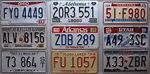 9er Kennzeichen SET / LOT # US Nummernschilder TEXAS + MINNESOTA + ALABAMA + OHIO + ARKANSAS + NEBRASKA + ILLINOIS + GEORGIA + UTAH Blechschilder # USA Auto - Schilder