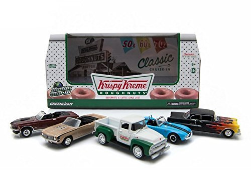 motor-world-diorama-krispy-kreme-donuts-5-car-set-1-64-by-greenlight-58023-by-greenlight