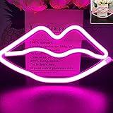 Verbesserte LED Neon'Lippen' Wandschilder Led Neonlicht Kunst Dekorative Lichter Wanddekor für Kinder Baby Zimmer Weihnachten Hochzeit Dekoration (Rosa)
