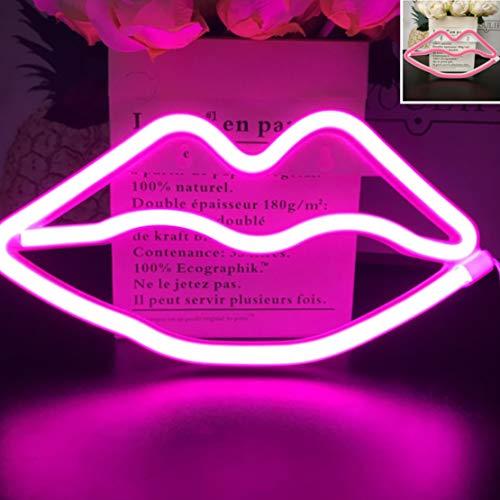 """Verbesserte LED Neon\""""Lippen\"""" Wandschilder Led Neonlicht Kunst Dekorative Lichter Wanddekor für Kinder Baby Zimmer Weihnachten Hochzeit Dekoration (Rosa)"""