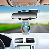 Universal Smartphone Holders Car Rear View Mirror Mount Holder Stand For iPhone X,8,7 plus,6s plus,Samsung Galaxy S6/S5/S4/S3,Note 4/3/2(Black)
