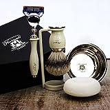 Komplett 5Stück Elfenbein Farbe Rasier-Set mit Silber Spitze Pinsel & Gillette Fusion Rasierer. Perfekt als Geschenk
