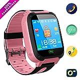 Jslai Niños Smartwatch Relojes, LBS/GPS Tracker de Alarma SOS Infantil Relojes de Pulsera Cámara Reloj móvil Mejor Regalo para niños de 3-12 años niños Compatible con iOS/Android(Pink)