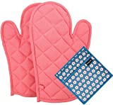 #9: PRIME ® Oven Glove & Pot Holder Set (2 Oven Glove + 1 Pot Holder Free) (Heat Proof) (33 x 16 Cm) (Assorted Colors and Designs) (100% Quality & Lowest Price)