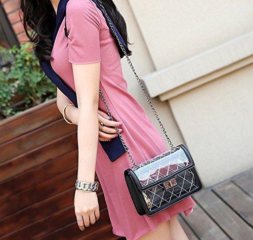 Novias Boutique Damenmode Transparent Cross Body Schultertasche Handtasche mit Kette (Schwarz) schwarz