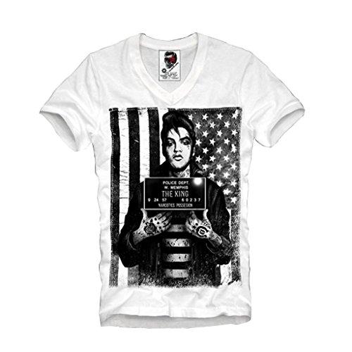 Elvis T-shirt Mugshot (E1SYNDICATE V-NECK T-SHIRT MUGSHOT BUSTED KING OBEY HBA ROCKABILLY TATTOO S-XL)