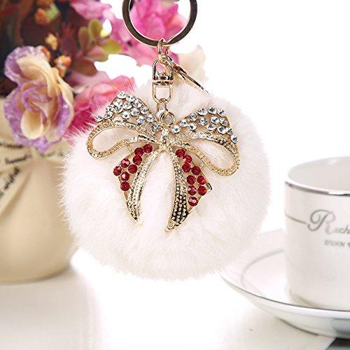 Mjhwsx Pelliccia di coniglio moda diamante sfera farfalla con ciondolo catena chiave dorata , white - Diamante Del Nastro Scorrevole