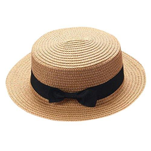 ZARLLE Sombrero De Paja ala Ancha Paja Bowknot Transpirable Sombrero Sombreros para El Sol del Verano Retro Viajes Sombrero Gorra Visera De Sol Playa De NatacióN (Caqui, Talla única)