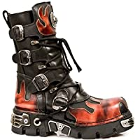 Newrock New Rock 591-S1 Red Flame Metal Black Leather Heavy Punk Gothic Boots