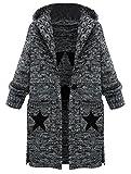 MatchLife Femme Grand Pull Chaud ouvert en Laine à manches longues Gilet Epais en Tricot-Style2-Gris-2XL