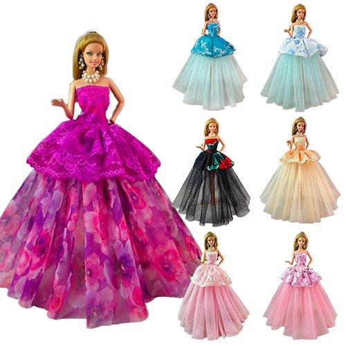 Villavivi Abiti Vestiti Ed Accessori Per La Festa Per Barbie Dolls Bambola  Per Regalo 2018 Stili Nuovi (7 Vestiti Da Sposa) 59693625db3