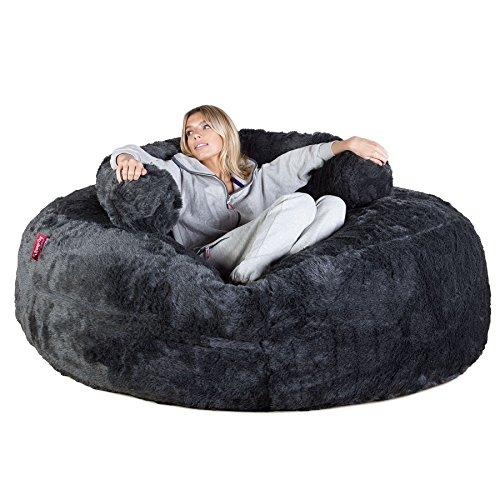 Lounge Pug, 'Mega-Mammoth' Sofa Sitzsack XXL, Schlafsofa, Kunstfell Schwarz