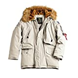 Alpha Industries Herren Parkas POLAR JACKET Winterjacke- Gr. M, Off White