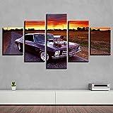 ABEQW Wandkunst Leinwand HD Gedruckt Modulare Rahmen Malerei 5 Stücke Auto Sonnenuntergang Natürliche Landschaft Bilder Poster Decor Home Wohnzimmer Wandkunst