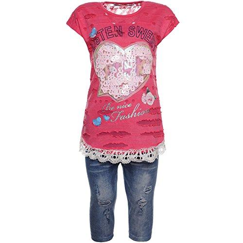 BEZLIT 2tlg Mädchen Set Capri-Hose T-Shirt Outfit 21774, Farbe:Pink, Größe:140 (Mädchen Kleidung Größe 10)