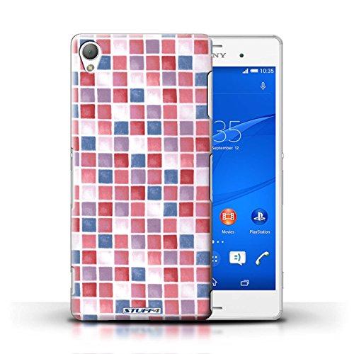 Kobalt® Imprimé Etui / Coque pour Sony Xperia Z3 / Rouge/Rose conception / Série Carreau Bain Rouge/Bleu