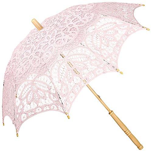 (VON LILIENFELD Spitzenschirm Damen Mode Sonnenschirm Brautschirm Hochzeitsschirm Vivienne Battenburg Spitze und langer Stock aus Holz pastellrosa)