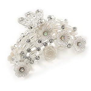 Avalaya Haarklammer für Brautschmuck, Abschlussball, Hochzeit, Acryl, Kristall, silberfarbenes Metall, 60 mm breit