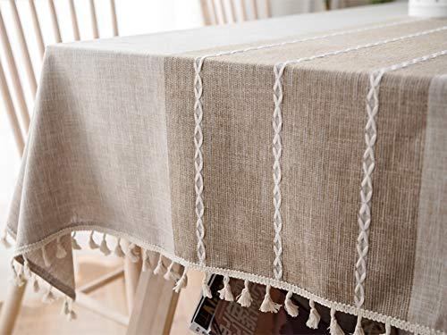 Lanqinglv Quaste Tischdecke 110x170 Abwaschbar Baumwolle und Leinen Tischtuch Beige Tischdecke Rechteck Couchtisch