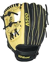Wilson A500 Baseball Gloves, Black/Blonde, 11.5, Left Hand Throw by Wilson