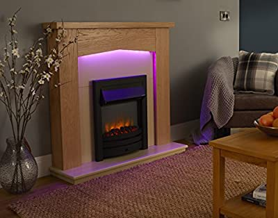 Linton Electric Fireplace Suite, 220/240Vac 1&2kW with multi function remote control in light oak veneered MDF fireplace suite.