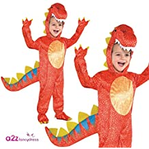 Joker 884660  - Disfraz de dinosaurio para niños, Color Rojo, Talla XS 1-3 Años