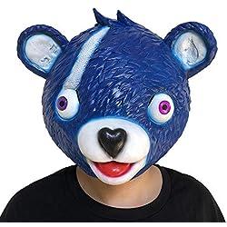 Zolimx Abrazo Equipo Líder Fortnite Oso Máscara Juego de Fusión Cara de Látex Adulto Traje Cosplay Juguete (Azul)