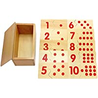 MagiDeal Wooden Montessori Mathematics Material 1-10 Numbers Matching Game Puzzles Kids Early Learning Educational Toy