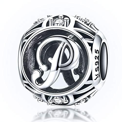 Charm-Anhänger Buchstabe P Silber Geburtsstein kompatibel mit Pandora/Chamilia Charm-Armbändern