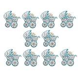 10pcs Baby Taufe Holzscheiben Holz Scheiben Dekoscheiben Verzierung Scrapbooking - Blauen Kinderwagen