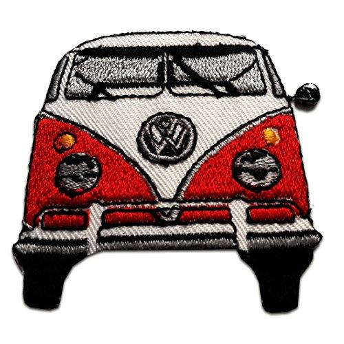 Parches - Vw autobús Retro Hippie - rojo - 6x6cm - termoadhesivos bordados aplique para ropa