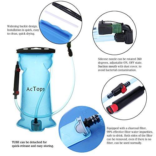 AcTopp Trinkblase 2L FDA genehmigt lecksicher Trinkbeutel mit Filter Wasserreservoir Rucksack Trinksystem für Rucksack - 4