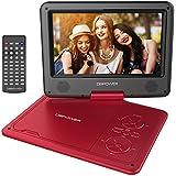 """DBPOWER 9.5"""" Lecteur DVD Portable avec écran orientable, compatibilité carte SD et interface USB, lit directement les formats MP4, AVI, RMVB, MP3 et JPEG (Rouge, 9.5)"""