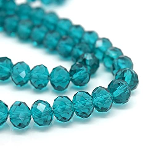 FACETED RONDELLE CRYSTAL GLASS BEADS PICK COLOUR & SIZE - BY STAR BEADS (Turquoise, 10mm (70pcs))
